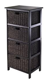 Wicker Bathroom Furniture Amazon Com Winsome Omaha Storage Rack With 4 Foldable Basket