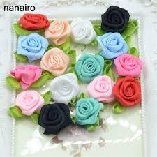 silk ribbon roses 50pcs artificial mini silk fresh flower handmade diy