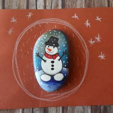 One Of A Kind Home Decor Snowman Pebble Art Handpainted Stone One Of A Kind Gift