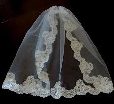 communion veil white pearl medium holy communion and lace trim bridal veil