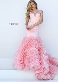 sherri hill 50487 pink sleeveless ruffled mermaid dress