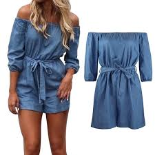 jumpsuit shorts womens summer shoulder playsuit romper denim shorts