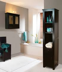 contemporary bathroom idea with dark wood cabinets units for