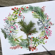 Images Of Decorated Christmas Wreaths by Best 25 Watercolor Christmas Ideas On Pinterest Watercolor
