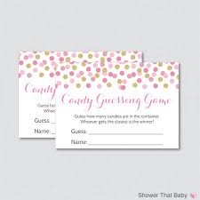 pink and gold baby shower candy guessing game printable