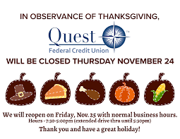 Friday After Thanksgiving Federal Thanksgiving 2016 Quest Federal Credit Union