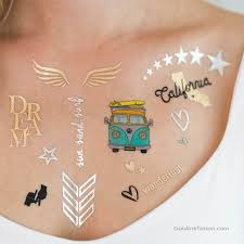 california metallic temporary tattoos set flash tattoos