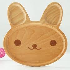 animal wood kawaii rabbit wood dinner plate animal pattern