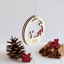 Bespoke Baby S First Christmas Wooden Tag Decoration by Personalised Baby U0027s First Christmas Mouse Bauble By Just Toppers