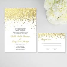 Wedding Invitations And Response Cards Faux Gold Foil Confetti Dots Elegant Wedding Invitation And Rsvp