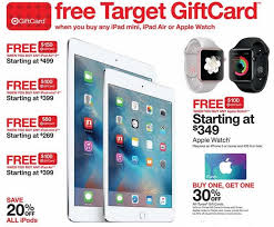 target offering 30 discount on target offering up to 150 in store gift cards for apple ipads
