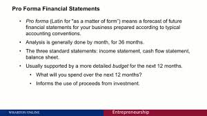 Pro Forma Income Statement Excel Template by Pro Forma Financial Statements Entrepreneurship 4 University