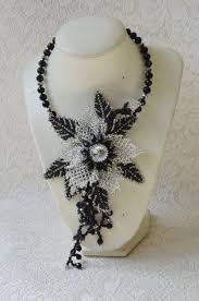 black beaded pendant necklace images Black and silver jewelry statement flower choker transformer jpg