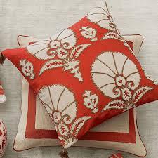 Coral Ottoman Ottoman Floral Velvet Applique Pillow Cover Coral Williams Sonoma