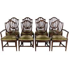 set of eight ethan allen federal style shield back dining chairs