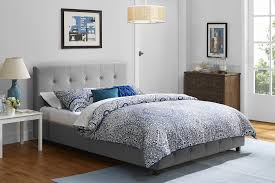 dorel home furnishings rose gray queen linen upholstered bed