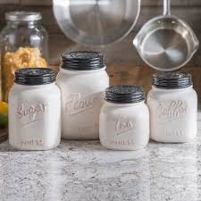 ivory and black kitchen canisters set of 4 country kitchens