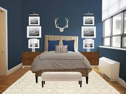 headboard with built in bedside tables blue and beige bedroom wallpaper rectangle brown elegant wood bed