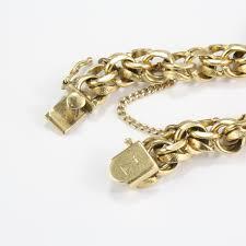 double gold bracelet images Pre owned 14 karat yellow gold double link charm bracelet jpg