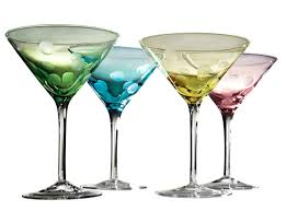 martini transparent bright fun mixed colors polka dot martini glass set of 4 by artland
