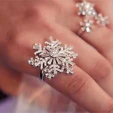 snowflake engagement ring cheap best trendy engagement ring with zircon snowflake