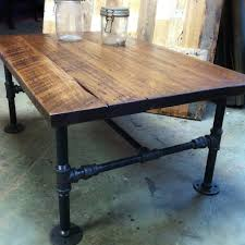 unique wood coffee table with pine plank top and pipe legs unique wood iron