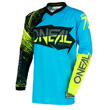 oneal motocross jersey o u0027neal jersey element burnout black blue hi viz yellow 2018