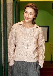 alexi classic aran cardigan for spring xs 2xl free pattern