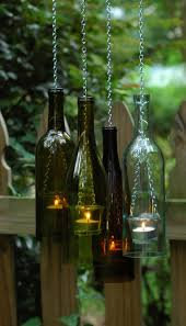 bottle u0026 chain hanging wine bottle lantern glass by lahadesigns