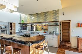 Yellow Kitchens With White Cabinets - gray yellow ceramic tile backsplash natural wooden countertop