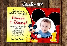 Mickey Mouse 1st Birthday Card Mickey Mouse 1st Birthday Invitations Cloveranddot Com
