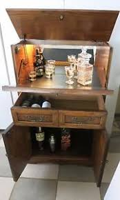 Retro Bar Cabinet Vintage Home Office Bar Liquor Cabinet W Mirror Light Key