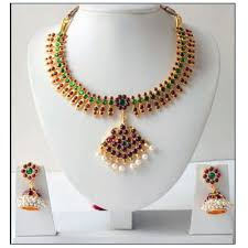 beautiful earring necklace set images Beautiful unique gold tone pearl royal temple jpeg