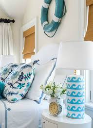 Kate Jackson Interior Design Blue And White Wave Table Lamps In An Ocean Theme Bedroom By Kate