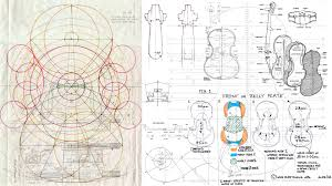 the first a technical drawing of a 1685 stradivari and the second