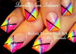 easy diy nails neon rainbow chevron dotticure nail art design