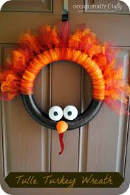 thanksgiving reefs tulle turkey wreath occasionally crafty tulle turkey wreath