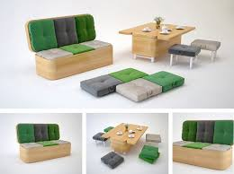 sofa easily transformed into a small dining table