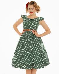 hetty green polka dot print swing dress vintage inspired fashion