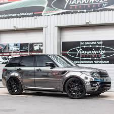 chrome range rover chrome black and gloss black tron lines on this range rover