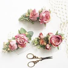 flower accessories blush and gold bridesmaids combs blush wedding sets hair