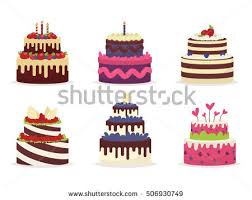 cakes for birthdays set beautiful cakes birthdays weddings anniversaries stock vector
