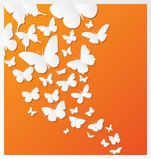 butterfly design on orange background vector free