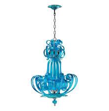 Teal Glass Chandelier Florence Light Blue Aqua Murano Glass 4 Light Pendant Chandelier