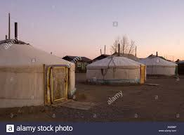 mongolia karakorum 3 yurt in a backyard stock photo royalty free