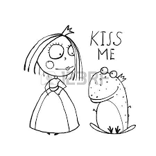 baby princess frog kiss coloring kids love