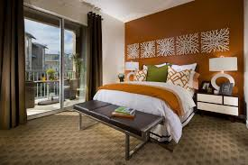 bedroom master bedroom orange accent wallwallpaper accent wall