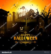 halloween background for flyer scary old graveyard farm sunset halloween stock vector 478229662