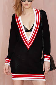 black plunging v neck long sleeve casual sweater dress long