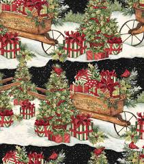 cotton holiday fabric print 43 u0027 u0027cart u0026 packages by susan winget